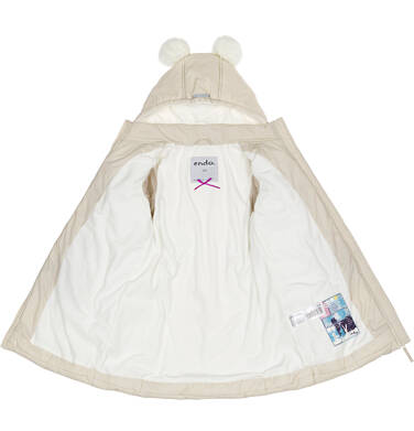 Endo - Zimowa kurtka dla dziewczynki 3-8 lat, długa, beżowa, z futrzanymi uszkami, ciepła D92A014_2,2