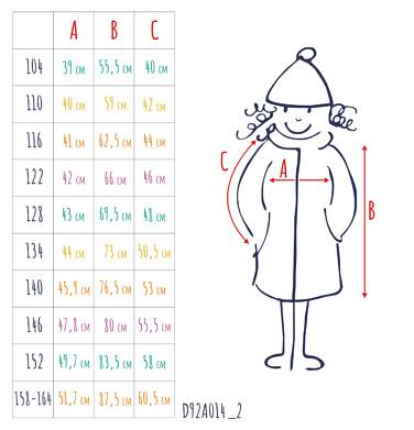 Endo - Zimowa kurtka dla dziewczynki 3-8 lat, długa, beżowa, z futrzanymi uszkami, ciepła D92A014_2,3