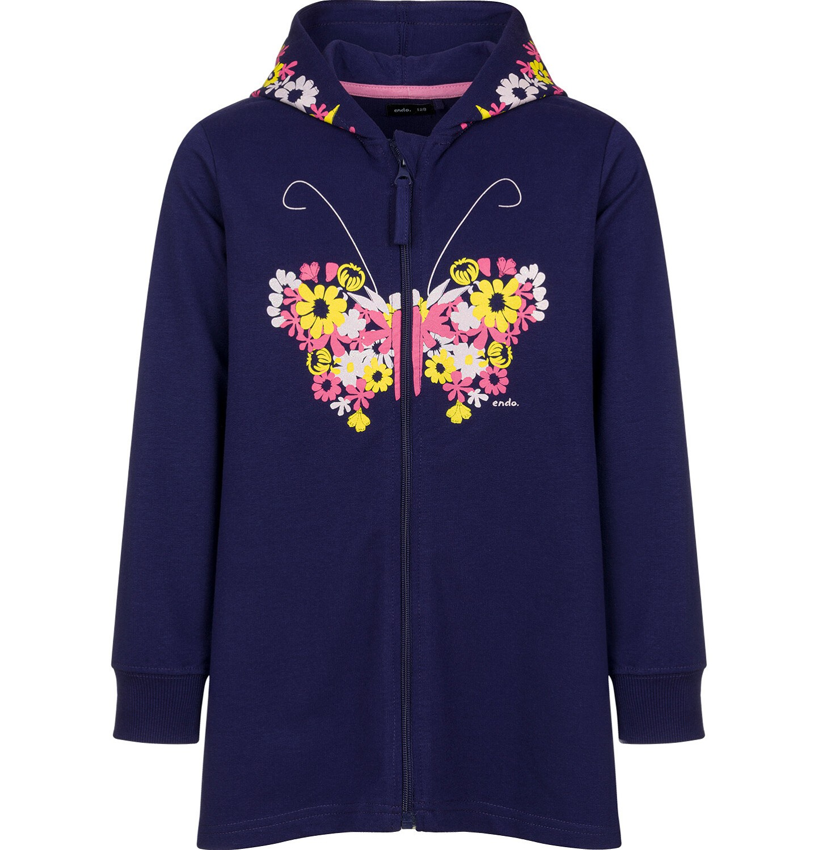 Endo - Rozpinana bluza z kapturem dla dziewczynki, z motywem motyla w kwiaty, granatowa, 2-8 lat D03C015_1