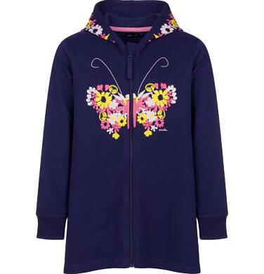 Rozpinana bluza z kapturem dla dziewczynki, z motywem motyla w kwiaty, granatowa, 2-8 lat D03C015_1