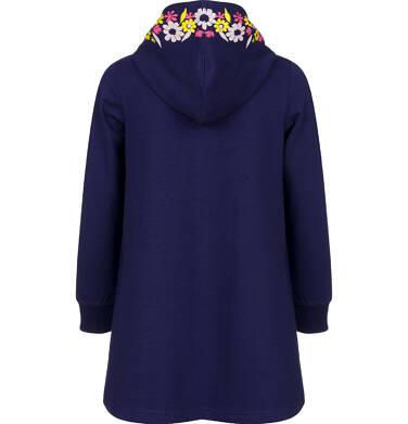 Endo - Rozpinana bluza z kapturem dla dziewczynki, z motywem motyla w kwiaty, granatowa, 2-8 lat D03C015_1,2