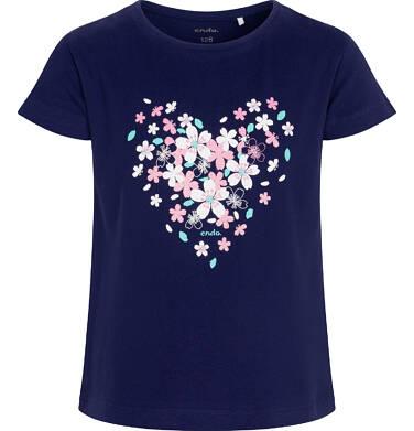 Endo - T-shirt z krótkim rękawem dla dziewczynki, z sercem, granatowy, 2-8 lat D06G004_2 27