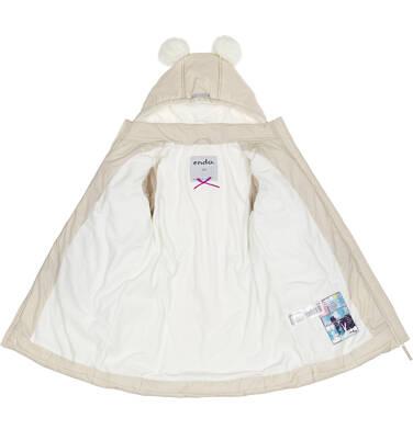 Endo - Zimowa kurtka, płaszcz dla dziewczynki 9-13 lat, długa, beżowa, z futrzanymi uszkami, ciepła D92A514_2,2