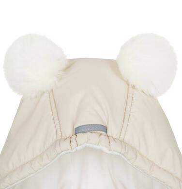 Endo - Zimowa kurtka, płaszcz dla dziewczynki 9-13 lat, długa, beżowa, z futrzanymi uszkami, ciepła D92A514_2,5
