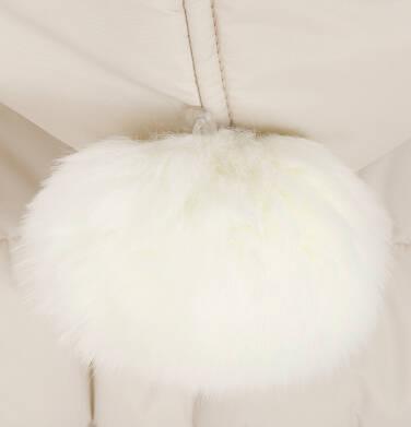 Endo - Zimowa kurtka, płaszcz dla dziewczynki 9-13 lat, długa, beżowa, z futrzanymi uszkami, ciepła D92A514_2,7