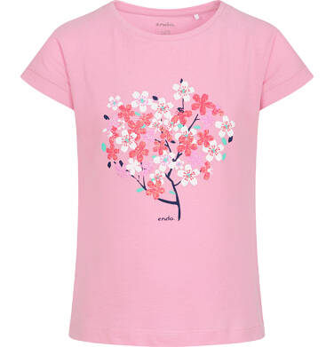 Endo - T-shirt z krótkim rękawem dla dziewczynki, z drzewem, różowy, 2-8 lat D06G006_2 25