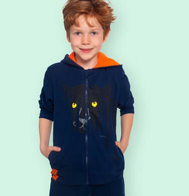 Endo - Rozpinana bluza z kapturem dla chłopca, z czarną panterą, granatowa, 9-13 lat C06C009_1 203