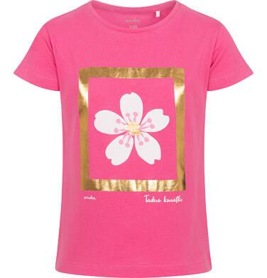 Endo - T-shirt z krótkim rękawem dla dziewczynki, z kwiatem, złote wykończenie, 9-13 lat D06G013_1 107