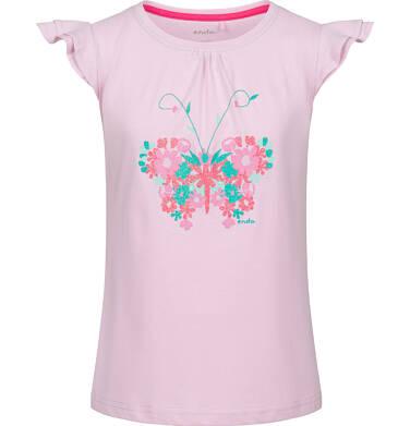 Endo - Bluzka z krótkim rękawem dla dziewczynki, z motylem, różowa, 9-13 lat D03G544_1 285