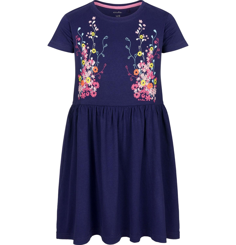 Endo - Sukienka z krótkim rękawem, w kwiaty, luźna forma, granatowa, 2-8 lat D03H017_1
