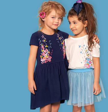 Endo - Sukienka z krótkim rękawem, w kwiaty, luźna forma, granatowa, 2-8 lat D03H017_1 7