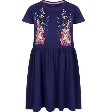 Endo - Sukienka z krótkim rękawem, w kwiaty, luźna forma, granatowa, 9-13 lat D03H517_1