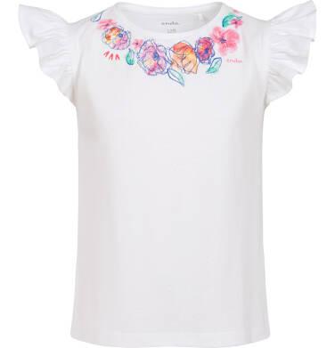 Endo - Bluzka z krótkim rękawem dla dziewczynki, rękaw z falbanką, motyw kwiatowy, biała, 9-13 lat D06G027_1 12
