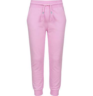 Spodnie dresowe dla dziewczynki ze ściągaczami, różowe, 2-8 lat D03K005_1