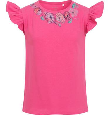 Endo - Bluzka z krótkim rękawem dla dziewczynki, rękaw z falbanką, motyw kwiatowy, różowa, 9-13 lat D06G027_2 26