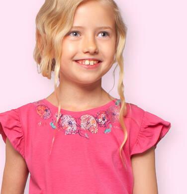 Endo - Bluzka z krótkim rękawem dla dziewczynki, rękaw z falbanką, motyw kwiatowy, różowa, 9-13 lat D06G027_2 14