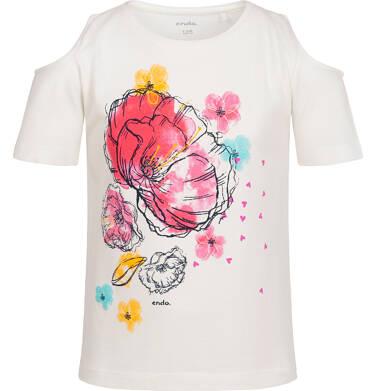Endo - Bluzka z krótkim rękawem dla dziewczynki, z odsłoniętymi ramionami, kremowa, 9-13 lat D06G031_1 25