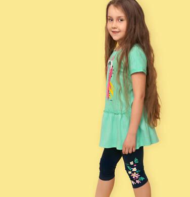 Endo - Legginsy 3/4 dla dziewczynki, granatowe z kwiatkami, 2-8 lat D05K067_1,2