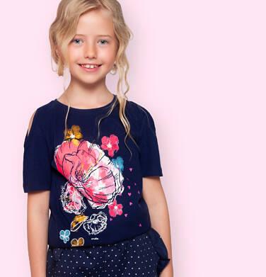 Endo - Bluzka z krótkim rękawem dla dziewczynki, z odsłoniętymi ramionami, granatowa, 9-13 lat D06G031_2 28