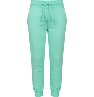 Endo - Spodnie dresowe dla dziewczynki ze ściągaczami, miętowe, 9-13 lat D03K505_2 8