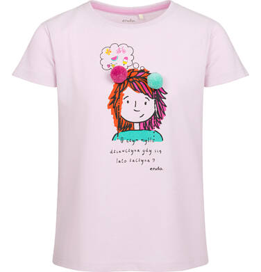 Endo - Bluzka z krótkim rękawem dla dziewczynki, z kolorową postacią, 9-13 lat D03G520_1
