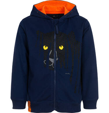 Endo - Rozpinana bluza z kapturem dla chłopca, z czarną panterą, granatowa, 3-8 lat C06C016_1 33