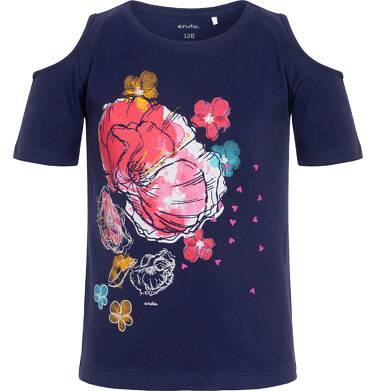 Endo - Bluzka z krótkim rękawem dla dziewczynki, z odsłoniętymi ramionami, granatowa, 2-8 lat D06G038_2 26