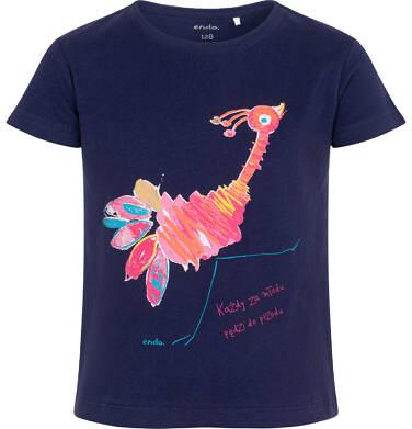 Endo - T-shirt z krótkim rękawem dla dziewczynki, ze strusiem, granatowy, 9-13 lat D06G069_1 12