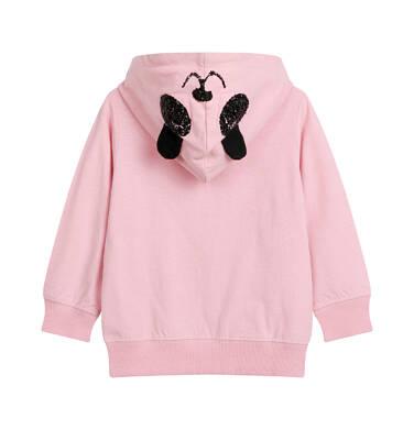 Endo - Rozpinana bluza z kapturem dla dziecka do 2 lat, z uszami pandy, różowa N03C007_1,2