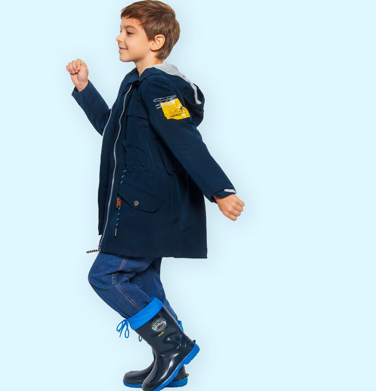 Endo - Przejściowa kurtka parka z kapturem dla chłopca, granatowa z elementami odblaskowymi, 2-8 lat C05A004_1