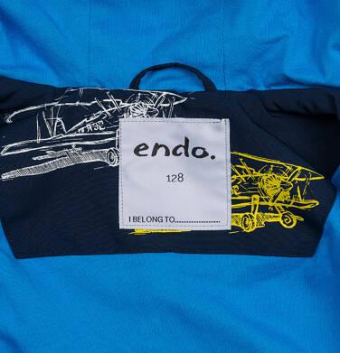 Endo - Przejściowa kurtka parka z kapturem dla chłopca, granatowa z elementami odblaskowymi, 2-8 lat C05A004_1,7