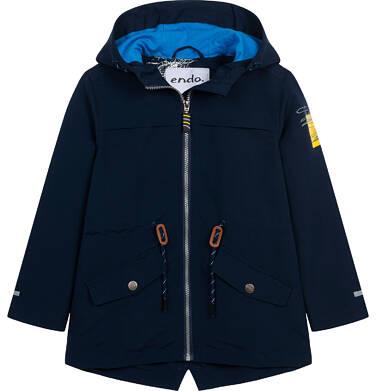Endo - Przejściowa kurtka parka z kapturem dla chłopca, granatowa z elementami odblaskowymi, 2-8 lat C05A004_1,8