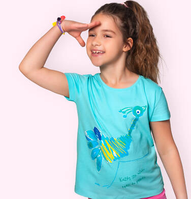 Endo - T-shirt z krótkim rękawem dla dziewczynki, ze strusiem, niebieski, 9-13 lat D06G069_3 20