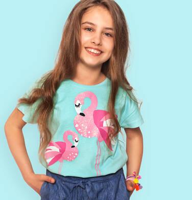 Endo - T-shirt z krótkim rękawem dla dziewczynki, z flamingami, niebieski, 9-13 lat D06G074_1 8