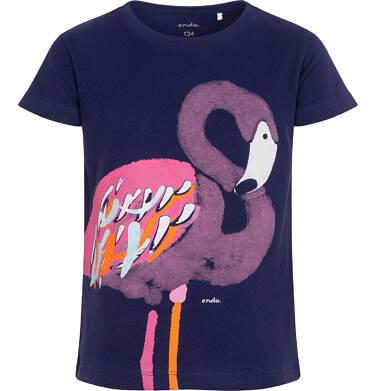 Endo - T-shirt z krótkim rękawem dla dziewczynki, z flamingiem, granatowy, 9-13 lat D06G080_2 9