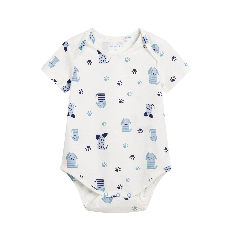 Endo - Body z krótkim rękawem dla dziecka do 2 lat, deseń w pieski, białe N03M002_1