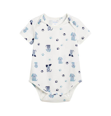 Endo - Body z krótkim rękawem dla dziecka do 2 lat, deseń w pieski, białe N03M002_1 4