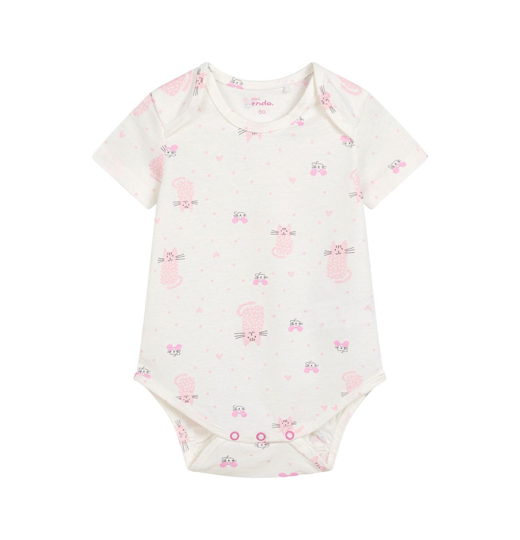 Endo - Body z krótkim rękawem dla dziecka do 2 lat, deseń w różowe koty N03M011_1