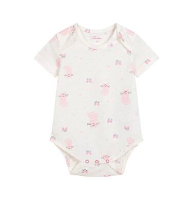 Endo - Body z krótkim rękawem dla dziecka do 2 lat, deseń w różowe koty N03M011_1 22