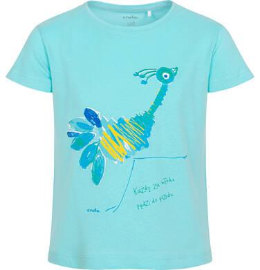 Endo - T-shirt z krótkim rękawem dla dziewczynki, ze strusiem, niebieski, 2-8 lat D06G099_3 18