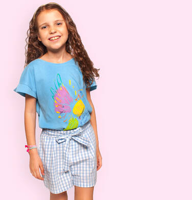 Endo - T-shirt z krótkim rękawem dla dziewczynki, z kolorowym ptakiem, niebieski, 2-8 lat D06G101_2 23