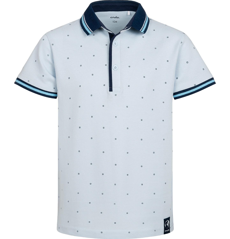 Endo - Koszulka polo z krótkim rekawem dla chłopca, w drobny deseń, niebieska, 9-13 lat C05G177_1