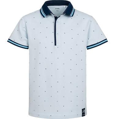 Endo - Koszulka polo z krótkim rekawem dla chłopca, w drobny deseń, niebieska, 9-13 lat C05G177_1,1