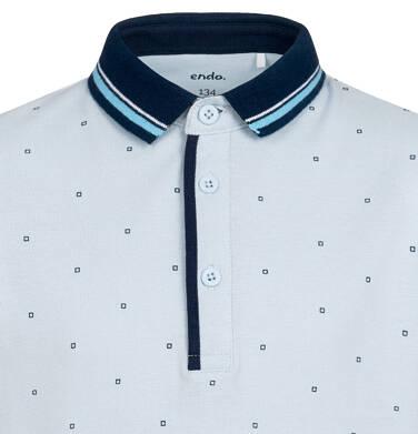 Endo - Koszulka polo z krótkim rekawem dla chłopca, w drobny deseń, niebieska, 9-13 lat C05G177_1,2