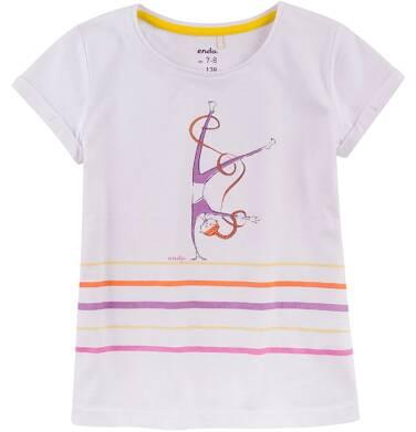 Endo - Bluzka z krótkim podwiniętym rękawem dla dziewczynki 4-8 lat D71G090_1
