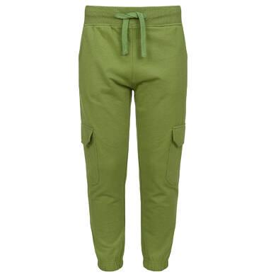 Spodnie dresowe dla chłopca, z bojówkowymi kieszeniami po bokach, oliwkowe, 9-13 lat C03K524_1