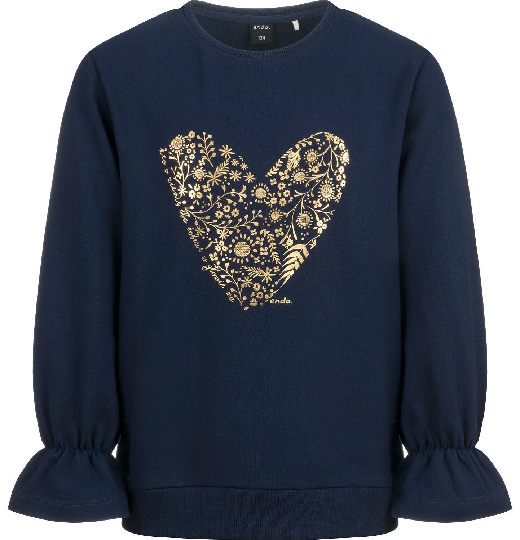 Endo - Bluza dla dziewczynki, z sercem, granatowa D04C040_1