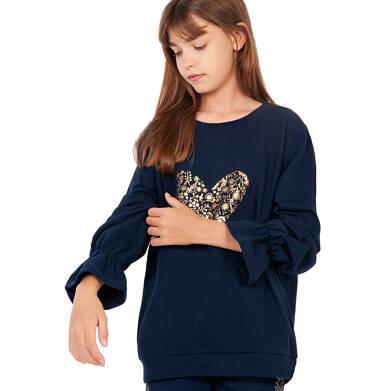 Endo - Bluza dla dziewczynki, z sercem, granatowa D04C040_1,2