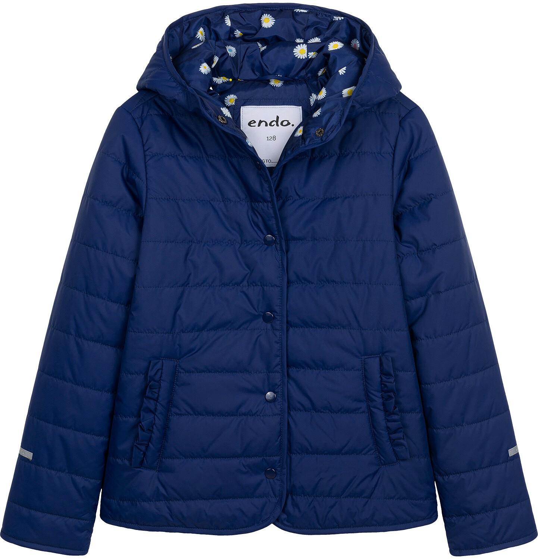 Endo - Przejściowa kurtka z kapturem dla dziewczynki, granatowa z elementami odblaskowymi, 9-13 lat D05A001_1