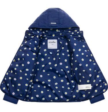 Endo - Przejściowa kurtka z kapturem dla dziewczynki, granatowa z elementami odblaskowymi, 9-13 lat D05A001_1 113